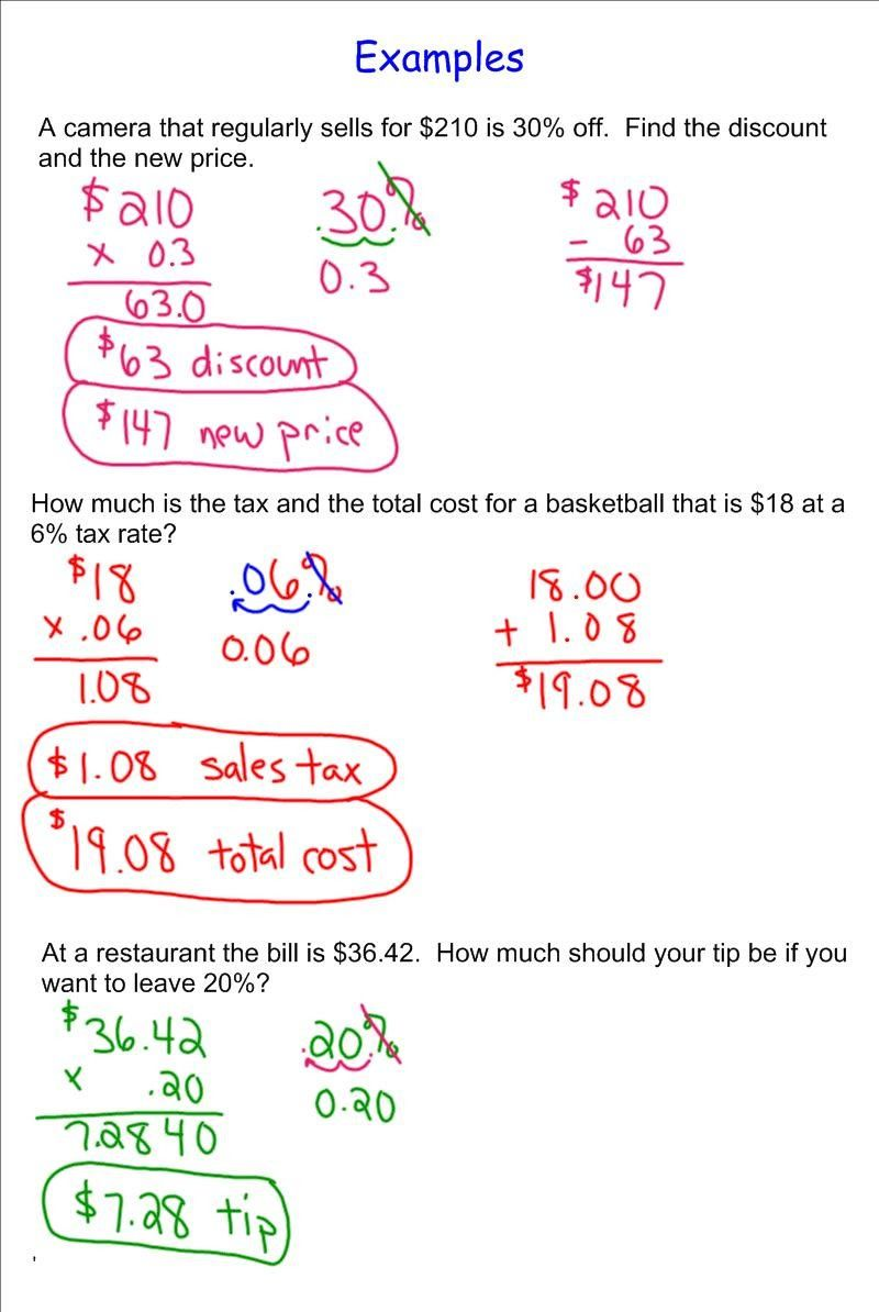 Tax Tip and Discount Word Problems Answers Best Sales Tax Math Problems Worksheet Worksheets for