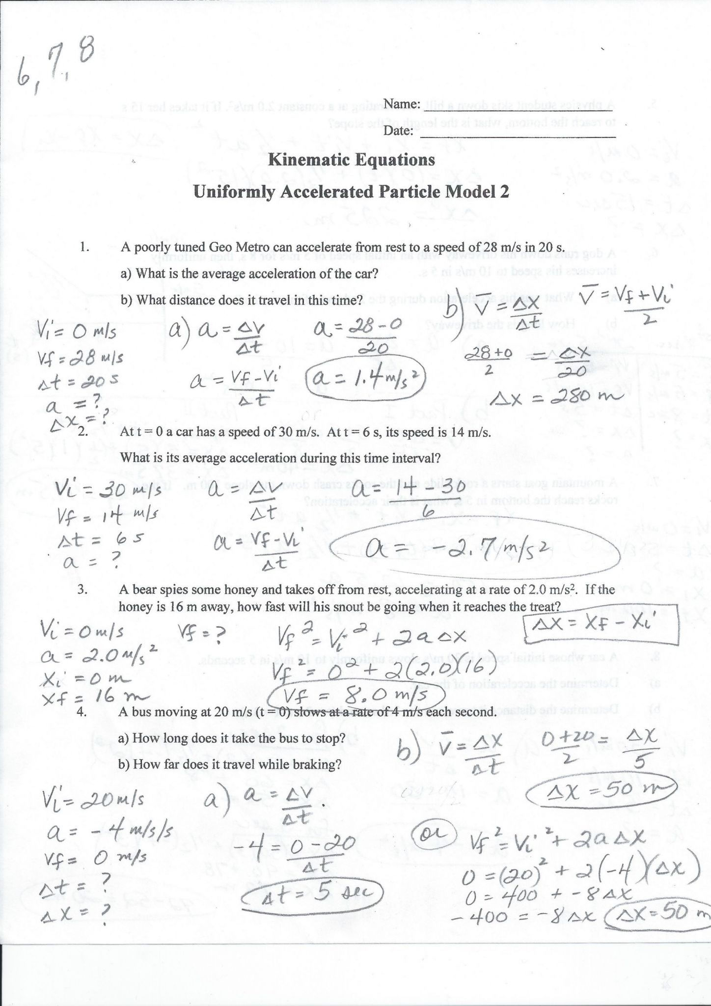Very 41 Lovely Speed Velocity And Acceleration Calculations Worksheet Position Velocity Acceleration Graphs Practice sx3